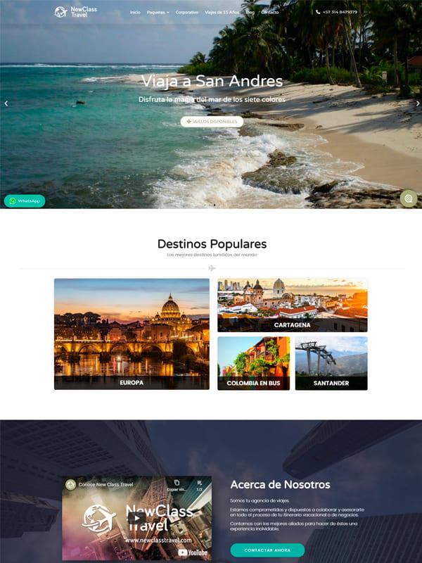 Cliente New Class Travel - Diseño de pagina