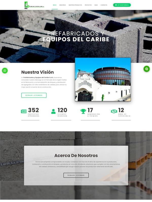 Sitio web de Prefabricados del Caribe - Web informativa