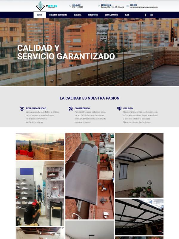 Pagina web de Vidrios y marquesinas